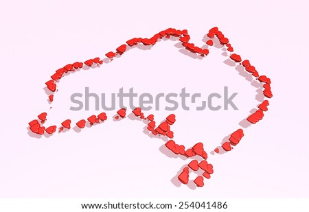 australia outline map from 3d small hearts  - stock photo