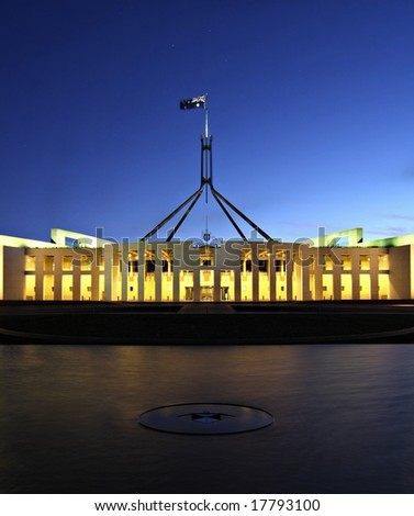 Australia's Parliament House by Night - Canberra - stock photo