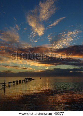 Australia seahore sunset - stock photo