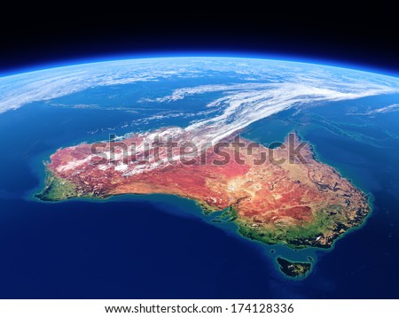 Australia seen from space - Earth daytime series (Elements of this 3d image furnished by NASA) - stock photo