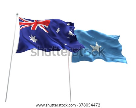 Australia & Somalia Flags are waving on the isolated white background