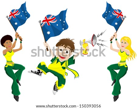 Australia Sport Fan with Flag and Horn - stock photo