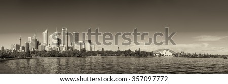 australia sydney city black white CBD panoramic view on main landmarks including harbour bridge at sunset. - stock photo