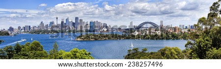 Australia Sydney city CBD scenic view from Taronga Zoo at landmarks and harbour bridge over harbour waters sunny summer day - stock photo