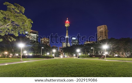 australia Sydney City CBD view from central Hyde Park green grass illuminated skyscrapers, towers and street lights at sunset - stock photo