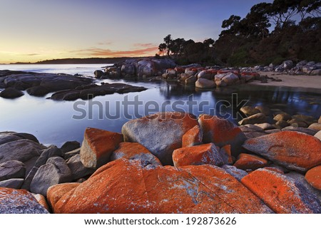 Australia Tasmania binalong bay red rocks organic origin picturesque bay of fires nature landmark in national park at beach - stock photo