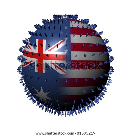 Australia USA flag sphere surrounded by people illustration - stock photo