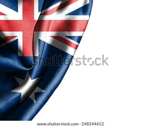 Australia waving silky flag isolated on white background