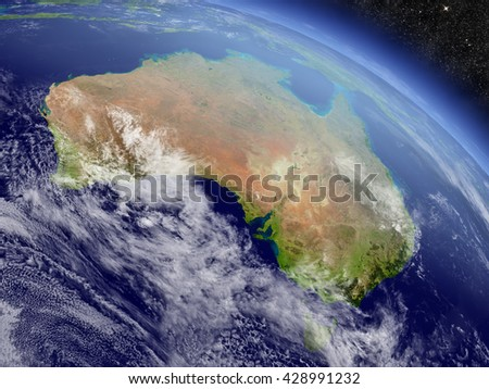Australia with surrounding region as seen from Earth's orbit in space. 3D illustration with highly detailed planet surface and clouds in the atmosphere. Elements of this image furnished by NASA. - stock photo