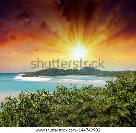 Australia. Wonderful sunset colors over Whitsunday Islands. - stock photo