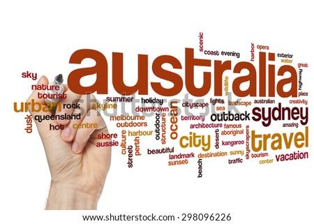 Australia word cloud - stock photo