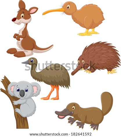 Australian animal cartoon - stock photo