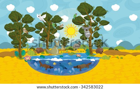 Australian animals scene - illustration for the children - stock photo