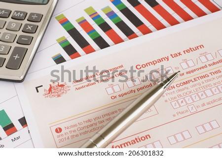 Australian annual corporate tax return concept - stock photo