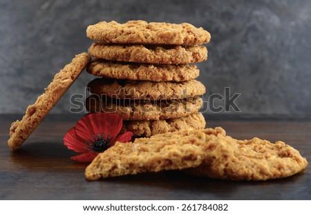 Australian Anzac biscuits  - stock photo