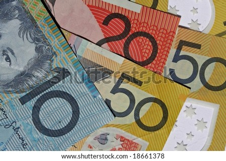 Australian Bank notes - closeup for background - stock photo