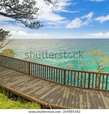 Australian beach lookout on summers day on Stradbroke Island, Queensland - stock photo