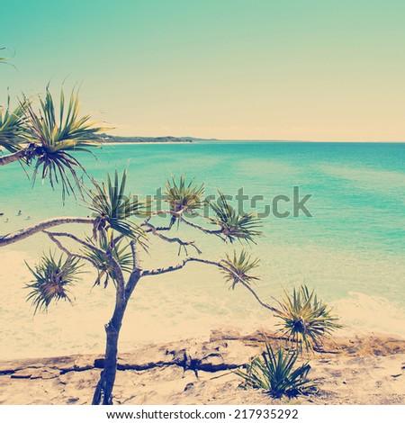 Australian beach on a hot summers day, Stradbroke Island, Queensland, Australia with Instagram style filter - stock photo
