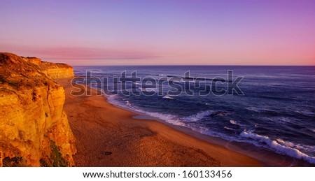 Australian beautiful coast at sunset - stock photo