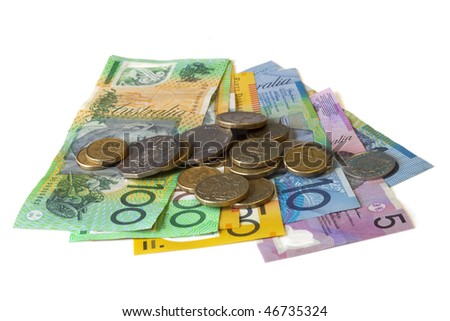 Australian cash, isolated on white.  Notes and coins. - stock photo