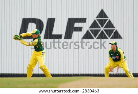 Australian cricket in actions during the final of their tri-nations cricket series in Kuala Lumpur - stock photo