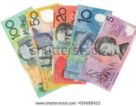 Australian currency on white background