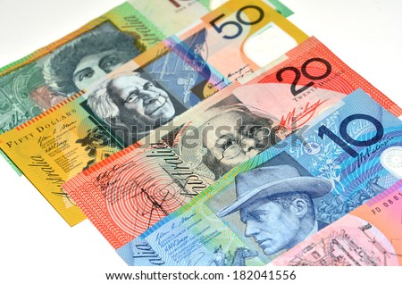 Australian dollar bank notes. Concept photo of money, banking ,currency and foreign exchange rates. (Isolated on white background) - stock photo