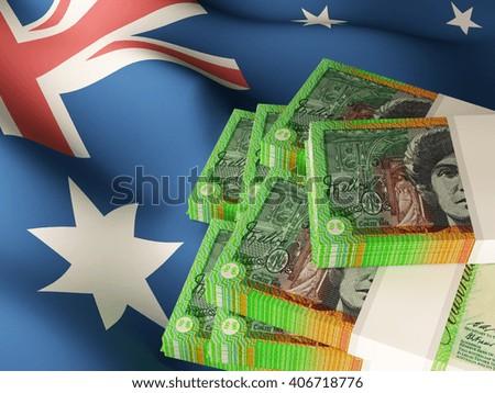 Australian dollar banknote bundles on textile textured Australia flag. 3d illustration. - stock photo