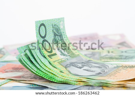 Australian Dollar banknotes on white background - stock photo