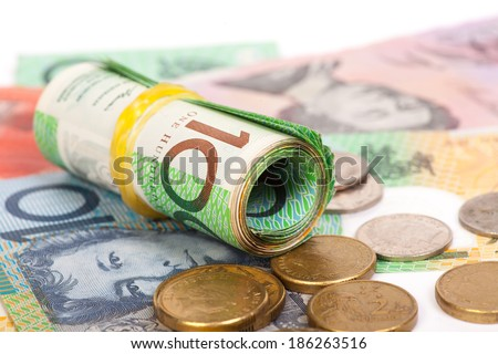 Australian Dollar banknotes on white background - stock photo