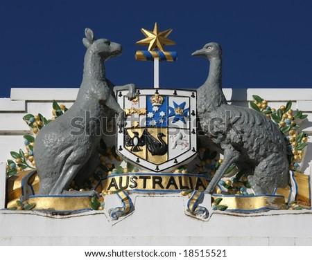Australian Emu and Kangaroo emblem on old Parliament house - Canberra - stock photo