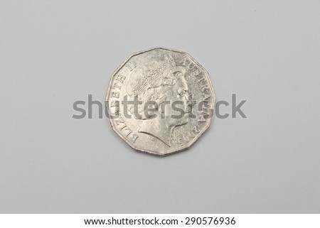 Australian 2005 Fifty Cent coin - Heads Elizabeth II - stock photo
