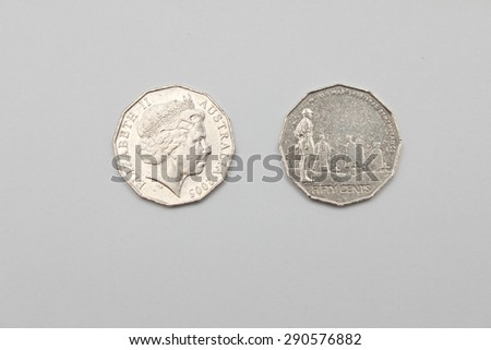 Australian 2005 Fifty Cent Coins - Heads Elizabeth II and Tails World war 1939-1945 Remembrance - stock photo