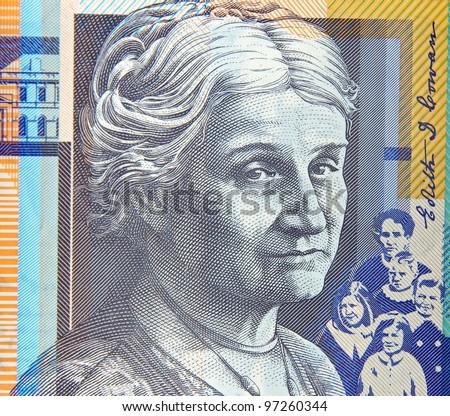 australian fifty dollars note portrait - stock photo