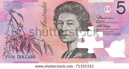 Australian five dollar note isolated against a white background - stock photo