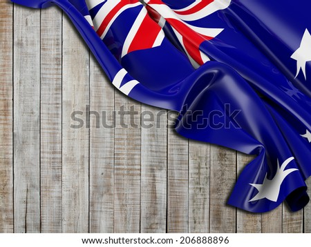 Australian Flag folded with vertical wood - stock photo