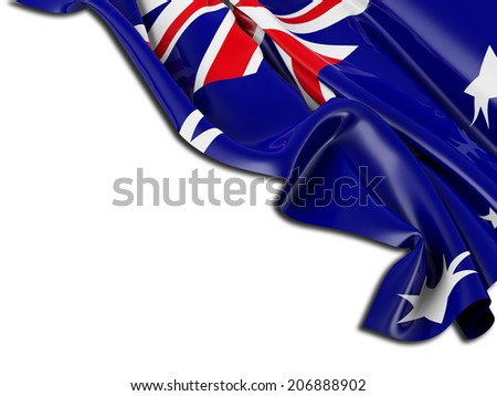 Australian Flag folded with white - stock photo