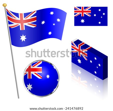 Australian flag on a pole, badge and isometric designs illustration.  - stock photo
