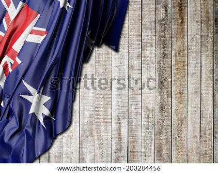 Australian Flag with vertical wood - stock photo