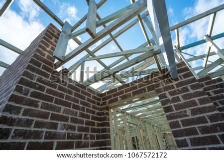 Australian House Construction Timber Frame Brick Stock Photo ...