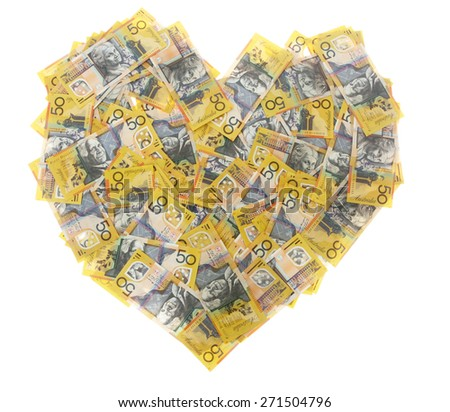 Australian Money - Aussie currency in heart shape - stock photo