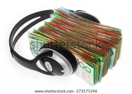 Australian Money - Aussie currency with headphones