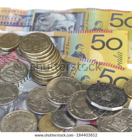 Australian Money (Focus on $1.00 coins) - stock photo
