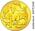 Australian money, gold one Dollar coin with the image of a kangaroo five - stock vector