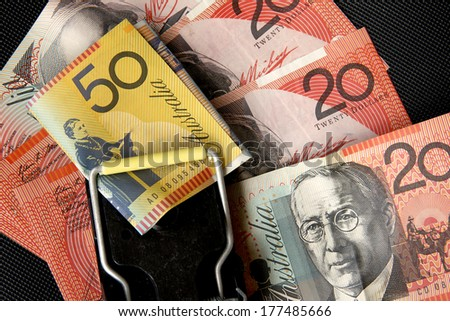 Australian Money in a Trap - stock photo