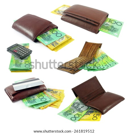 australian money in wallets - stock photo