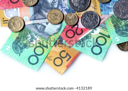 Australian money ~ notes and coins ~ on white background. - stock photo