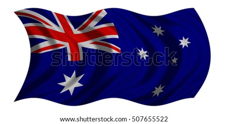 Australian national official flag. Patriotic symbol, banner, element, background. Correct colors. Flag of Australia with real detailed fabric texture wavy isolated on white, 3D illustration