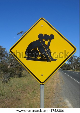 Australian native animal koala road sign
