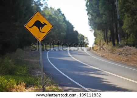Australian native kangaroo road sign on the road in Queensland - stock photo